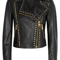 Versus|Studded leather biker jacket|NET-A-PORTER.COM