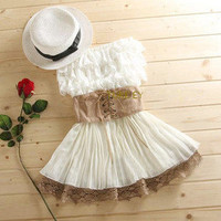 lACE AND CHIFFON NICE DRESS WITH BELT