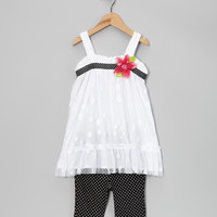 White Mesh Tunic & Polka Dot Leggings - Toddler & Girls