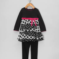Black & White Polka Dot Dress & Leggings - Infant