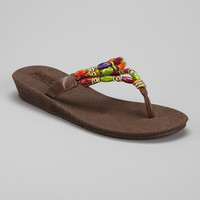 Brown Beaded Flip-Flop