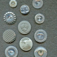 Gray glass buttons some are moonglows vintage buttons