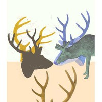 Original Art Antler deer  Limited edition  Original by LouisestArt