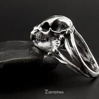 Sterling Silver Hyrax Skull ring.Animal skull ring.Antique ring.Creative ring.weird ring.JZ057