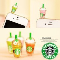 1 x StarBucks Frappuccino Ice Coffee Cell Phone Charm 3.5mm Anti Dust Earphone Jack Plug iphone 4 4S (No 1):Amazon:Cell Phones &amp; Accessories