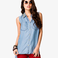 Studded Collar Chambray Shirt