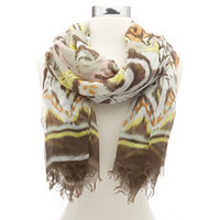 Fringe-Trim Ikat Tribal Scarf: Charlotte Russe