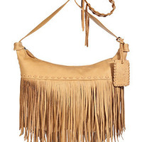 Ralph Lauren Collection - Tan Tumbled Leather Fringe Zip Crossbody Bag