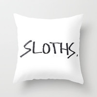 Sloths. Throw Pillow by Lucy Helena