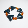 Peacock Porcelain Triangle and Orange Glass Beaded Stretch Bracelet