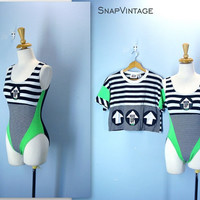 80s Workout Suit / Two Piece Exercise Outfit / Neon Leotard Bodysuit plus Crop Top/ Gitano