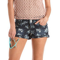 Triple Button Floral Denim Short: Charlotte Russe