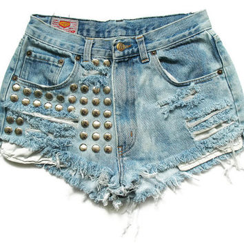 Studded high waist shorts XS