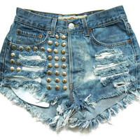 Studded denim high waist shorts XS