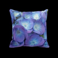 Blue Hydrangea Blossoms Pillow from Zazzle.com
