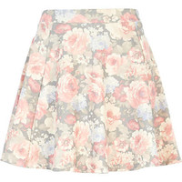 Grey washed floral skater skirt - skater skirts - skirts - women