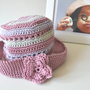 Pink hat child from 2 to 4 yrs crocheted in pink lilac cotton