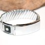 Vintage Stretch Panel Silver Black Enamel and Rhinestone Picture Bracelet ID Bracelet Style Signed Empire