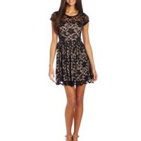 Amazon.com: Jump Juniors D&#x27;orsay Lace Illusion Cap Sleeve Dress: Clothing