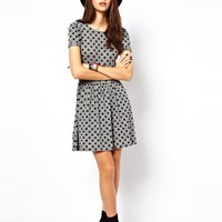 ASOS Mini Skater Dress In Flocked Spot at asos.com