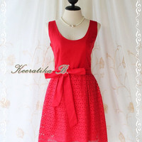 Jazzie lll - Cutie Pastel Sundress Spring Summer Bright Red Dress Party Bridal Shower Birthday Event Dress