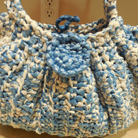 Plarn - Plastic bags - purse -  Blue and White - Crochet