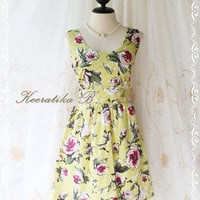 Jazzie lll - Cutie Floral Spring Summer Dress Lemonade Yellow Background With Painting Floral Print All Over Sleeveless Party Floral Dress