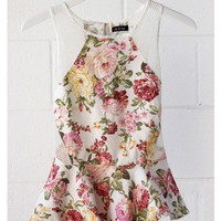 Floral Peplum Top - White
