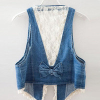 Romantic moments — denim lace vest hollow