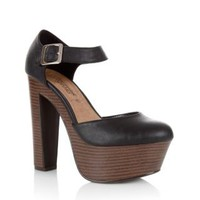 New Look Mobile | Black Leather-Look Chunky Platform Heels