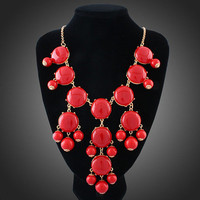 Multi Color Bubble Bib Statement Turquoise Crew Necklace US Seller J-Z1 Red Blue