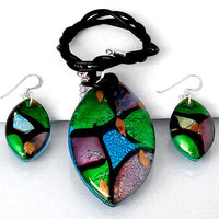 154.32cts DICHROIC GLASS 925 STERLING SILVER EARRINGS NECKLACE JEWELRY SET S9455