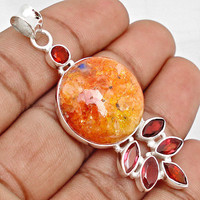 26.43cts ORANGE MEXICAN OPAL AGATE GEMSTONE 925 STERLING SILVER PENDANT G3521