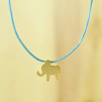Sweet Baby Elephant Necklace, Gold Plated Brass Pendant, Genuine Leather Cord, Everyday Wear, Perfect Gift, also in Rhodium Plated