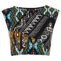 Tribal Aztec Crop Tee - Jersey Tops  - Clothing