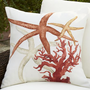Painted Red Coastal Outdoor Pillow