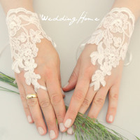 Wedding Glove, ivory lace gloves, Fingerless Glove, ivory wedding gown, UNIQUE Bridal glove, wedding bride, bridal gloves,