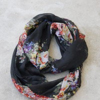 Delicate Bouquet Infinity Scarf [2231] - $12.00 : Vintage Inspired Clothing & Affordable Summer Frocks, deloom | Modern. Vintage. Crafted.
