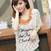 Romantic Nets Lace Letter Pattern Chiffon Tee White