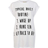 White daily routine print oversized t-shirt - print t-shirts / tanks - t shirts / tanks / sweats - women