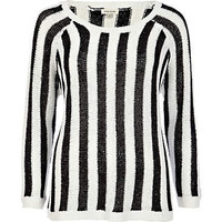 Black and white striped sequin sweater - knitwear - sale - women