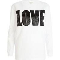 White PU love sweatshirt - casual wear - sale - women