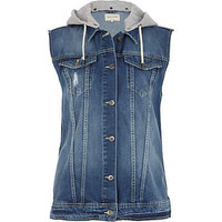 Mid wash jersey hooded denim gilet - coats / jackets - sale - women