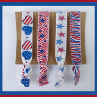 4 Elastic HAIR TIES Zebra Glitter Red White and Blue, Patriotic, Memorial Day, 4th of July Set, No Tug, No Dent,  Yoga