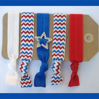 5 Elastic HAIR TIES Red White and BlueChevron by CrownedPeacock