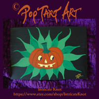 Folk Art / Primitive / Recycled / Cardboard Art - Original Painting - Pumpkin - Jack O Lantern - Flower - Halloween - IntricateKnot