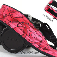dSLR Camera Strap, Pocket, Hot Pink and Red Swirls, Black,SLR