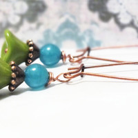 Antique Copper Green & Blue Czech Flower Earrings
