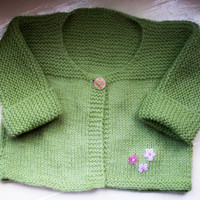 Baby girl cardigan toddler jacket vegan easy care knit green