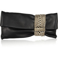 Jimmy Choo|Chandra chain-embellished leather clutch|NET-A-PORTER.COM